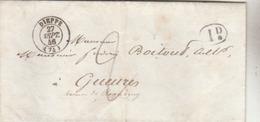 Dieppe ( 74 ): T. 15 + Taxe Man. 2d.+ 1d. Rural Pour Gueures. - 1801-1848: Précurseurs XIX