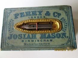 INK PENS - PERRY & Co. London - JOSIAH MASON Birmingham -.ENGLAND    C/1900's BOX NEVER OPEN  Pen # 794 Broad Points - Plumes