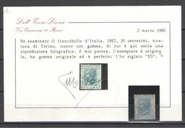 REGNO 1867 20 C.TORINO CENTRATO LUSSO * GOMMA ORIGINALE CERT..ENZO DIENA - 1861-78 Victor Emmanuel II