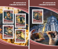 CENTRAL AFRICA 2018 MNH** Reichstag Fire Feuer Brand Feu M/S+S/S - OFFICIAL ISSUE - DH1813 - 2. Weltkrieg