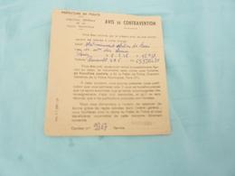 Avis De Contravention Paris Rue De Ternes 8.9.1958 Voitures Renault 4cv - Vieux Papiers