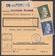 """MiNr. 793/4, MiF Auf Paketkarte """"Marburg/DRau"""", 31.10.44 - Deutschland"""