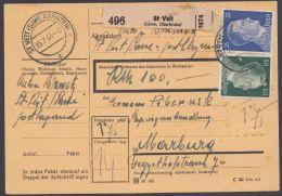 "MiNr. 793,796, 799, MiF Auf Paketkarte ""St.Veit/Kärnten"", 15.7.44 - Briefe U. Dokumente"