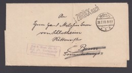 """Bonn"", 1919, Fr.lt.Avers 21, Div. ""zurück""-Stempel Und Vermerke - Dienstpost"