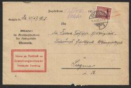 """MiNr. 112, EF Auf ZU """"Chemnitz"""", 14.11.27 - Dienstpost"""