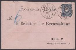 """RU 1, Bedarf, Adresszudruck """"Kreuzzeitung Berlin"""", 1885 - Deutschland"""