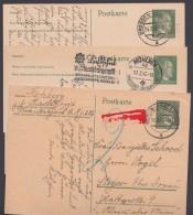 P 298 I, 3 Bedarfs-Fernkarten, 2x Unbeanstandet, 1x Mit Nachgebühr, 1942/3 - Deutschland