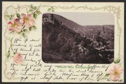 """""""Heidelberg"""", Dek. Karte Mit Rauten Und Farbigen Blüten, 1900 Gelaufen - Heidelberg"""