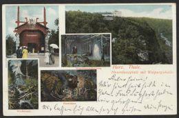 """""""Thale"""", Hexentanzplatz, Farbige Mehrbildkarte, 1904 Gelaufen - Thale"""