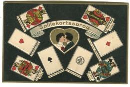 Cartes à Jouer Playing Cards Language (Danish) Embossed Litho Postcard C. 1908 - Cartes à Jouer