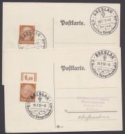 """MiNr. 513, Propaganda-Stempel """"Breslau"""", Sängerbundesfest, 2 Karten 29. Und 30.7.37 - Deutschland"""
