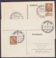 """MiNr. 513, Propaganda-Stempel """"Breslau"""", 2 Karten Mit Versch. Sonderstempeln 1937/8 - Briefe U. Dokumente"""