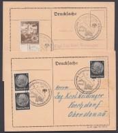 """Propaganda-Stempel """"Brieg"""", """"Waldenburg"""", WHW-LV Schlesien, 1939, 2 Karten - Briefe U. Dokumente"""
