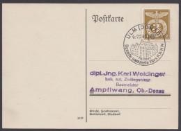 """MiNr. 830, Propaganda-Stempel """"Ulm"""", Beamte Sammeln Fürs WHW, 6./7.2.43 - Deutschland"""