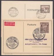 """Propaganda-Stempel """"Braunschweig"""", Messeplatz 2.3.37 Und WHW-Sammlung 30.3.41, 2 Karten - Deutschland"""
