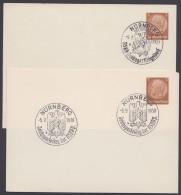 """PP 122 , Propaganda-Stempel """"Nürnberg"""", Reichsparteitag 1937/8, 2 Karten Versch. Sst. - Briefe U. Dokumente"""