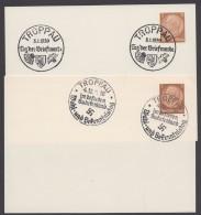 """PP 122 , Propaganda-Stempel """"Troppau"""", 2 Karten Mit Versch. Sst Aus 1938/9 - Briefe U. Dokumente"""