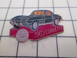Pin813d Pin's Pins / Beau Et Rare / AUTOMOBILES : CHEVROLET CORVETTE VERTE DE 1963 - Corvette