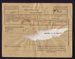 TELEGRAMME TIMBRES DE GRANDE BRETAGNE SURCHARGES B A ERITREA 10 SHILLING X 2 - 40 CENTS X 2 - 1 SHILLING X3  23-11-51 - Eritrea