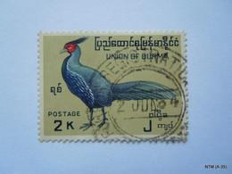 BURMA 1964, 2K  Long Tail Bird Stamp. SG 184, Used. - Myanmar (Burma 1948-...)