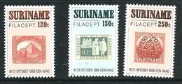 "SURINAME MNH - 1988 International Stamp Exhibition ""Filacept '88"" - The Hague - Vari Cent - Michel SR 1274 1276 - Suriname"