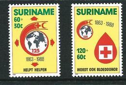 SURINAME MNH - 1988 The 125th Anniversary Of Red Cross - Vari Cent - Michel SR 1280 1281 - Suriname