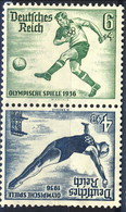 Germania Terzo Reich 1936 UN Serie N. 566 E N. 567 Zusammendruck MNH Postfrisch Cat € 4 - Germania