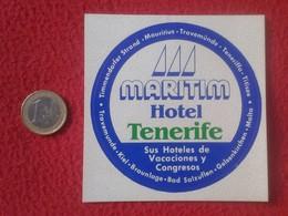 ANTIGUA PEGATINA ADHESIVO STICKER MARITIM HOTEL TENERIFE ISLAS CANARIAS CANARY ISLANDS SPAIN ESPAÑA VER FOTO/S Y DESCRIP - Pegatinas
