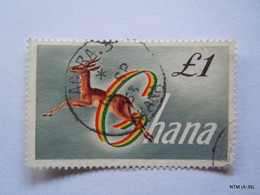 GHANA 1959, 1 Pound Stamp Showing Deer In Action. SG 225a. Used. - Ghana (1957-...)