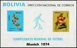 ~~~ Bolivia 1973 - Soccer 1974 Munich - Mi. Block 39 ** MNH - CV 60.00 Euro  ~~~ - Bolivië