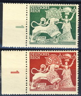 Germania Terzo Reich 1942 UN Serie N. 740-741 MNH Numero Di Tavola 1 Postfrisch Cat € 4 - Germania