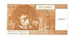 Billet Scolaire De 10 Francs édité Par La Société ASCO à Juziers - Books, Magazines, Comics