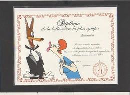 """Diplôme De La Belle-Mère La Plus Sympa"""" Loup """" / Illustrateur Tex Avery ( Sous Blister Avec Enveloppe) - Diplomi E Pagelle"""