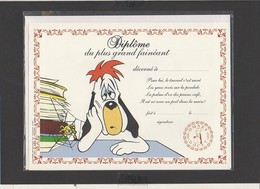 """Diplôme Du Plus Grand Fainéant """" Droopy """" / Illustrateur Tex Avery ( Sous Blister Avec Enveloppe) - Diplomi E Pagelle"""