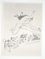Ex-libris Moderne XXème Illustré -  Allemagne - Femme Nue, Musique - Alfred Weide - Ex Libris