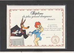 "Diplôme Du Plus Grand Drageur "" Loup,pin-up "" / Illustrateur Tex Avery ( Sous Blister Avec Enveloppe) - Diploma & School Reports"
