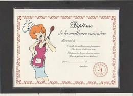 """Diplôme De La Plus Grande Cuisinière """"pin-up """" / Illustrateur Tex Avery ( Sous Blister Avec Enveloppe) - Diploma & School Reports"""