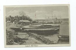 Africa Postcard Angola Corner Crease Lobito Harbour. Red Stain On Front Unused - Angola