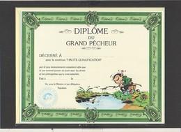 """Diplôme Du Plus Grand Pêcheur (à La Ligne) """" Gaston Lagaffe / Illustrateur Franquin ( Sous Blister Avec Enveloppe) - Diplomi E Pagelle"""