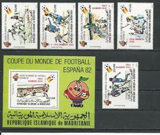 MAURITANIE Scott C212-C216, C217 Yvert PA209-PA213, BF37 (5+bloc) ** Cote 10,00$ 1982 Surcharges - Mauritanie (1960-...)