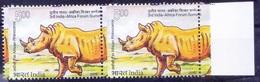T0m - Error, Perforation Shift , Rhino, Wild Animals, India 2015 MNH Pair, Rt Margin - Rhinoceros