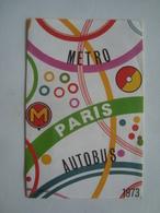 MÉTRO / AUTOBUS PARIS - FRANCE, 1973. 8 PAGES. - Transportation Tickets