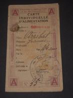 Rationnement Hérault 34 ADISSAN Carte Individuelle D'alimentation + Sucre - 1920 - Documents Historiques