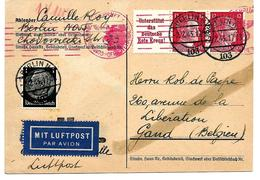 CP BERLIN N/103 2.2.43 Affr. TP Hitler 12 Pf (paire + PUB Deutsche Rote Kreuz) Et TP 1 Pf V. GAND. Censure Chimique. TB - Germany