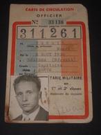 SNCF 1961 Carte De Circulation OFFICIER Capitaine Service De Santé - Tarif Militaire - Train - SMLT Ministère Des Armées - Biglietti Di Trasporto