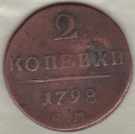 Russie, 2 Kopeks 1798 EM. Paul I . C# 95.3 - Russie