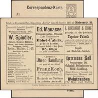 Poste Privée De Berlin 1873. Carte Avec Annonces. Expositions Universelles De Londres 1862, Paris 1867 Et Vienne 1873 - 1862 – London (Grossbritannien)