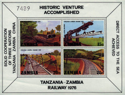 Ref. 60118 * NEW *  - ZAMBIA . 1976. INAUGURATION OF THE ZAMBIA-TANZANIA RAILWAY. INAUGURACION DEL FERROCARRIL ZAMBIA-TA - Zambia (1965-...)