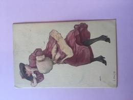 CARTOLINA ARTISTICA-SIGNORA AL VENTO- - Illustratori & Fotografie