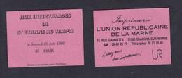 Ticket Entree ( Lot De 2 ) St Saint Etienne Au Temple Jeux Intervillages 1988 Imp. Union Republicaine De La Marne - Biglietti D'ingresso